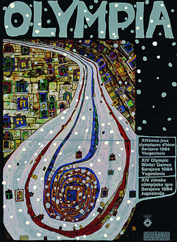 Affiche signée de Hundertwasser F. : Olympia, The end of the road