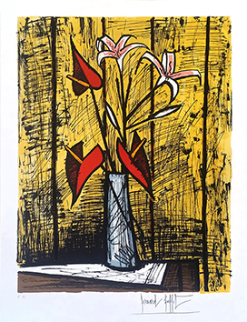 Lithographie originale de Buffet Bernard : Anthuriums et Lys