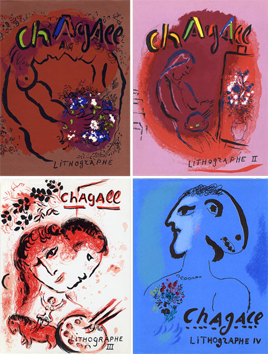 Illustrated Book de  : Chagall Lithographe Vol. I, II, III, IV
